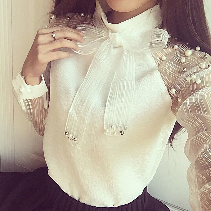 Fashion Hiamok femmes Lace-up Sexy See Through blanc Long Sleeve Slim Bow Shirt Top Blouse L à prix pas cher