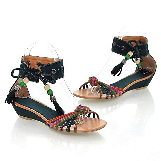 Fashion (Xiuxingzi) Summer Sexy femmes Nationality Ankle Tassel Flats Wedge Sheos Low-Heeled  Sandals à prix pas cher