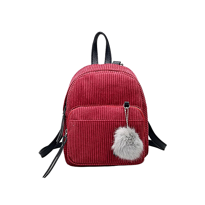 Fashion Mini corduroy female solid Couleur wild fur ball backpack simple retro bag WD à prix pas cher