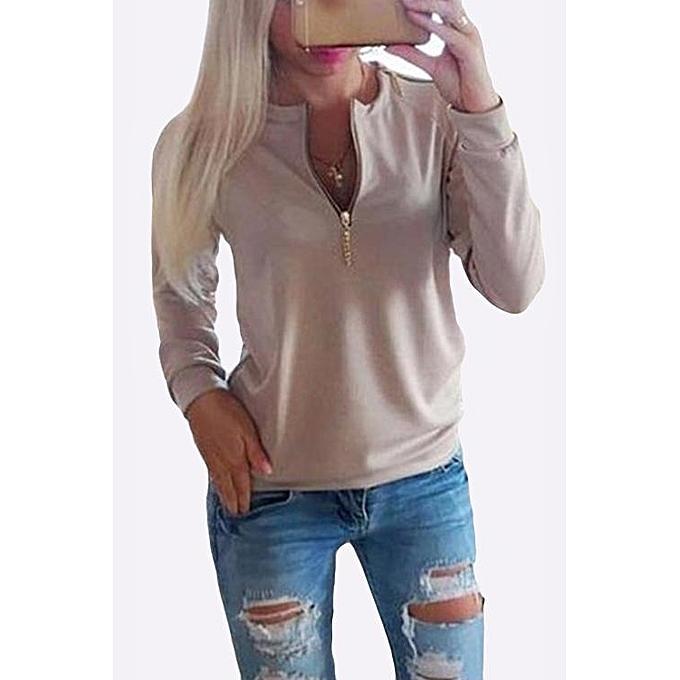 mode YOINS femmes nouveau High mode Clothing Décontracté Round Neck manche longue Khaki T-Shirt Top à prix pas cher