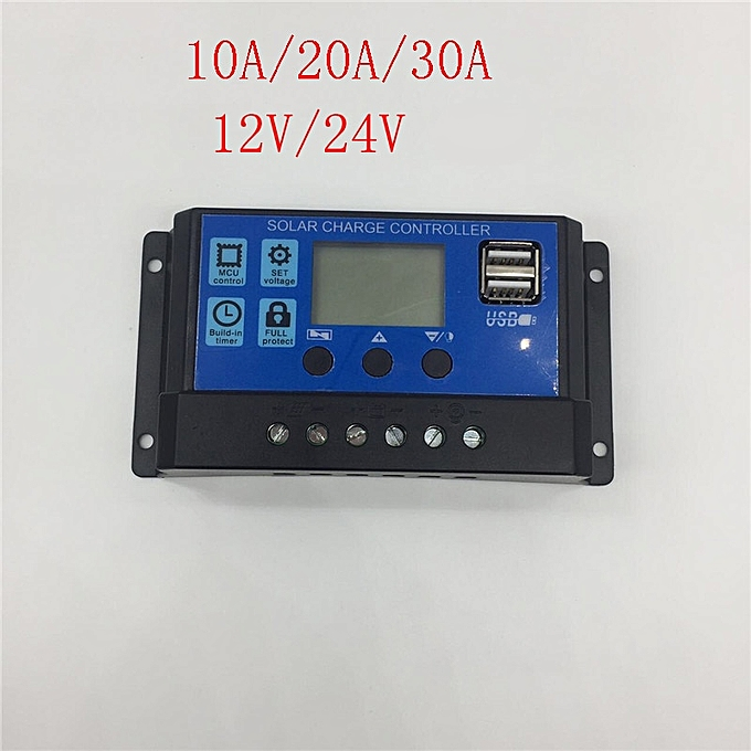 Other 30A 20A 10A 12V 24V Auto work Solar Charge Controller PWM with LCD Dual USB 5V Output Solar Cell Panel Charger Regulator PV Home(30A) à prix pas cher