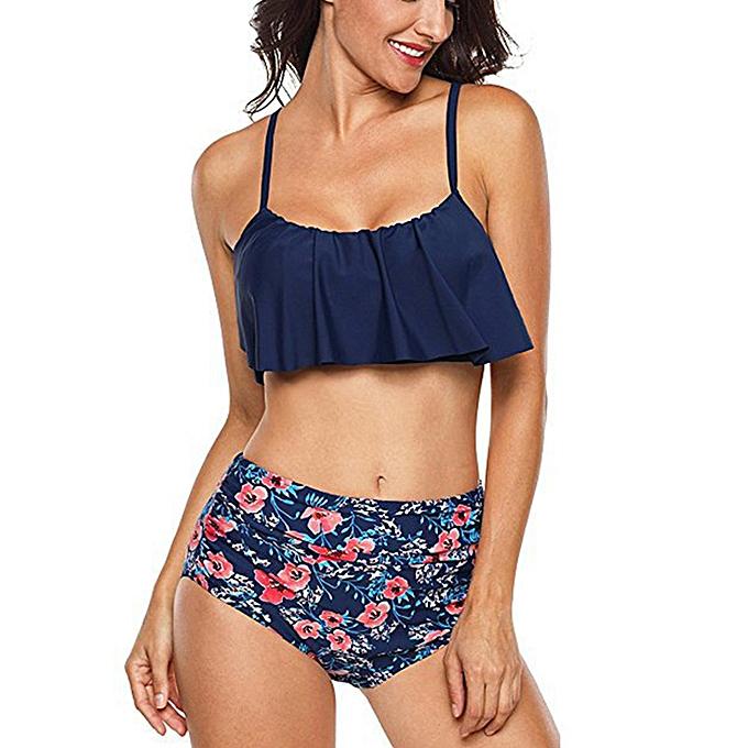 Autre High Waist Bikini Ruffle femmes Swim Bathing Suit Off Shoulder maillot de bain Push Up maillot de bain vert blanc plagewear Bikinis 2019 femmes JY-M( 1481) à prix pas cher