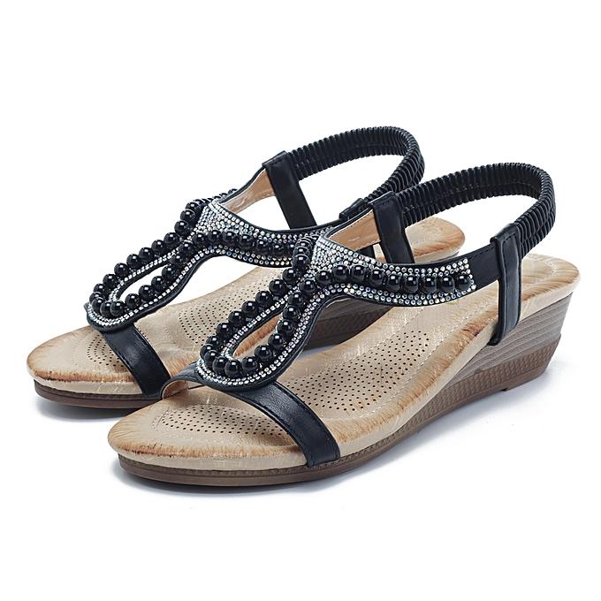 Fashion Fashion femmes Pearl Rhinestone Elastic Wedge Sandals à prix pas cher    Jumia Maroc