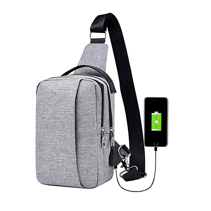 Fashion Men 's Corset Canvas Sports Leisure Waterproof Charging Outdoor Messenger Bag GY à prix pas cher