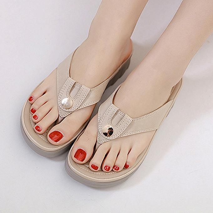 Fashion jiahsyc store New Fashion femmes Metal Buckle Round Head  Slipper  Flip Flops Sandals chaussures à prix pas cher