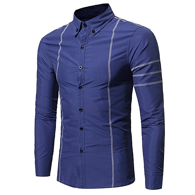 Fashion Fashion Personality Men's Casual Slim Long-sleeved Shirt Top Blouse - bleu à prix pas cher