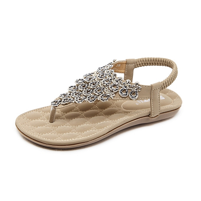 OEM New Large Taille femmes flat chaussures new summer national sandals flowers Bohemia slippers-apricot à prix pas cher