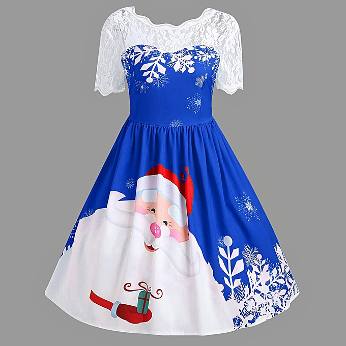 Fashion Wohommes Vintage Lace Short Sleeve Print Christmas Party Swing Dress à prix pas cher