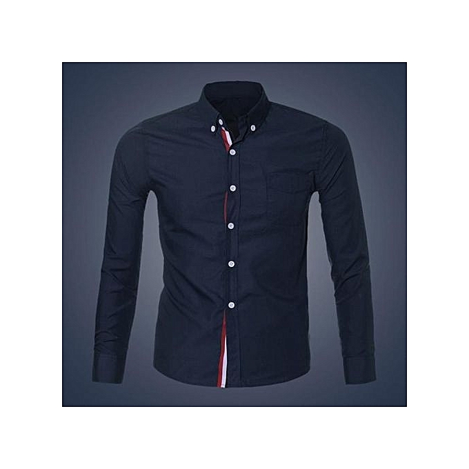 Neworldline Fashion Mens Luxury Long Sleeve Casual Slim Fit Stylish Dress Shirts DB L-Dark bleu. à prix pas cher