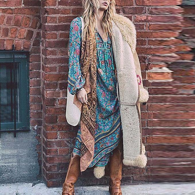 mode schoolcool femmes Floral Print manche longue Boho Robe Ladies Evening Party Long Maxi Robe à prix pas cher