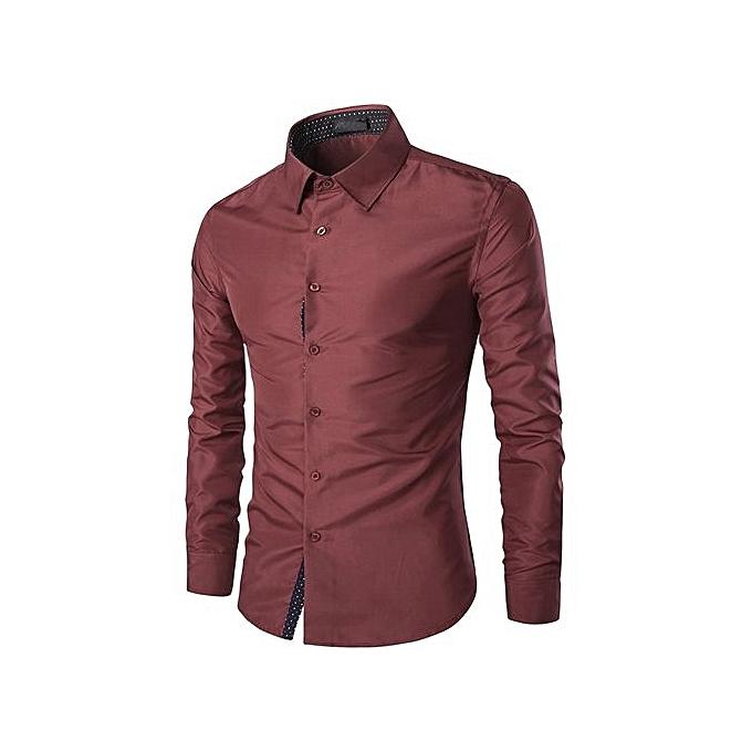 Neworldline Mens Casual Long Sleeve Shirt Business Slim Fit Shirt Blouse Top- Wine M à prix pas cher