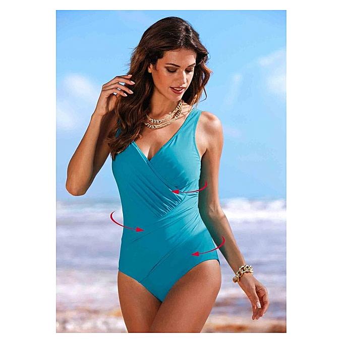 Autre 2019 New Plus Taille Swimwear femmes One Piece Swimsuit Solid Swimwear Large Taille Vintage Retro Swimsuit Bathing Suits Monokini 4XL( Q805BU) à prix pas cher