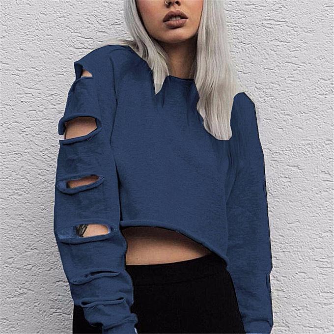 Fashion (Xiuxingzi) femmes Long Sleeve Hollow Hole Short Sweater Shirt Blouse Tops BU L à prix pas cher
