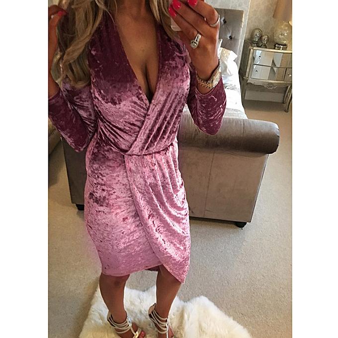 Fashion femmes Long Sleeve V Neck Irregular Dress PK L à prix pas cher