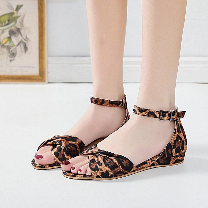 Fashion (Xiuxingzi) Wohommes Summer Bow Buckle Strap Open Toe Beach Breathable Sandals Rome chaussures à prix pas cher