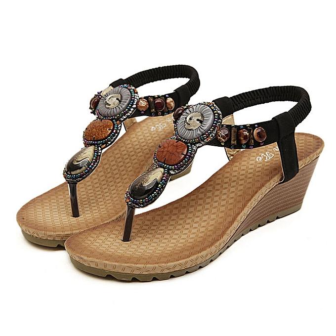 Fashion SOCOFY Fashion femmes Wedge Sandals Flatform chaussures Casual Flip Flops à prix pas cher    Jumia Maroc