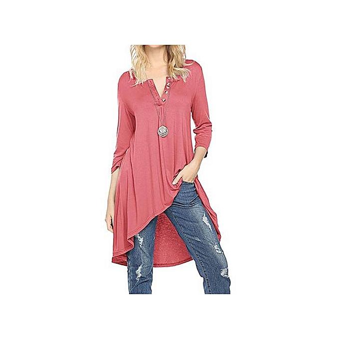 Fashion Tectores Fashion femmes Three Quarter Sleeve V-Neck Asymmetrical Solid Long Tops Blouse à prix pas cher