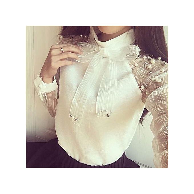 Fashion Xiuxingzi femmes Lace-up Sexy See Through blanc Long Sleeve Slim Bow Shirt Top Blouse S à prix pas cher