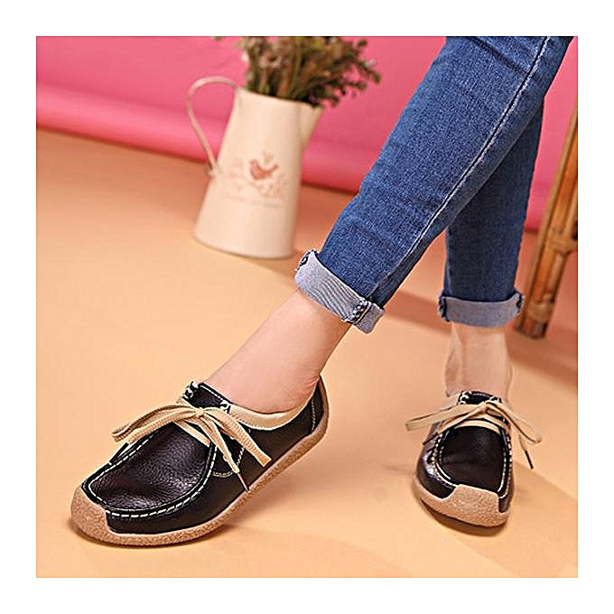 Fashion Fashion femmes Leather Lace Up Leather Couleur Match Soft Casual Flat Loafers Boat chaussures à prix pas cher    Jumia Maroc