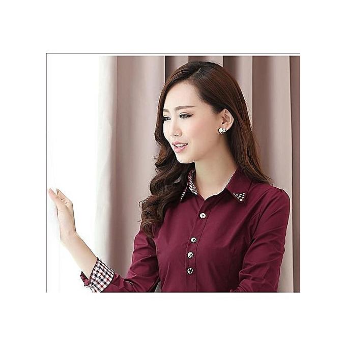 Generic New Slim Professional Shirt Wohommes Long Sleeve Large Taille Shirt-wine rouge à prix pas cher