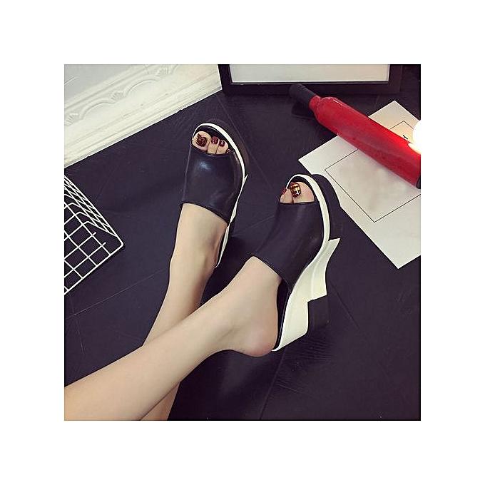 mode Jiahsyc Store Wohommes été Sandals chaussures Peep-toe chaussures Rohomme Sandals Ladies Flip Flops-noir à prix pas cher