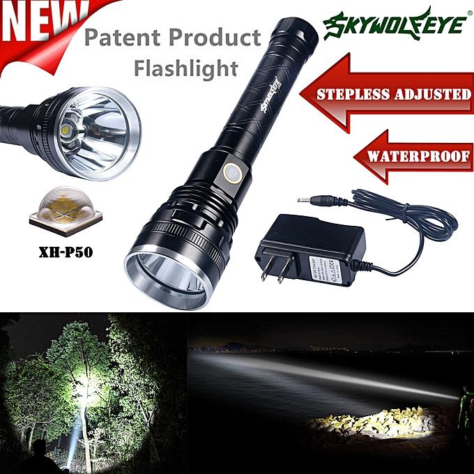 Electronic SkyWolfEye Pro Outdoor Stepless Adjusted XH-P50 Aluminum Flashlight à prix pas cher