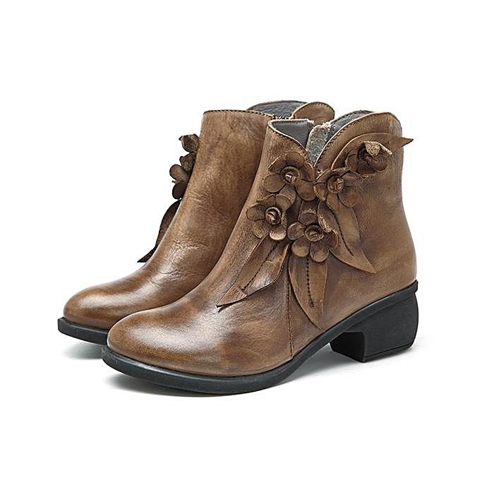 Fashion SOCOFY Sooo Comfy Comfy Sooo Vintage Handmade Floral Fashion WoHommes  Ankle Leather Boots à prix pas cher  | Jumia Maroc c3d47b