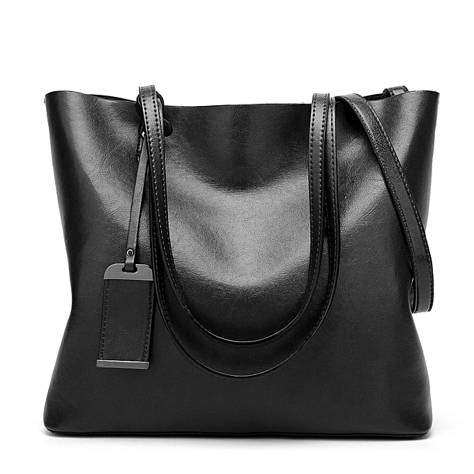 Fashion femmes Oil Leather Tote Handbags Vintage Shoulder Bags Capacity Shopping Crossbody Bags  noir à prix pas cher