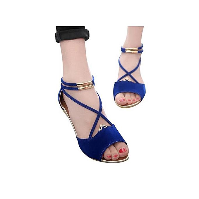 Fashion Jiahsyc Store femmes Fashion Solid Flock Peep Toe Wedges Cross Tied Sandals Rome chaussures bleu-bleu à prix pas cher