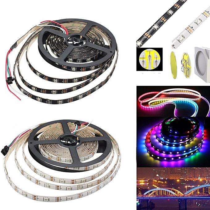 UNIVERSAL 5V WS2812B 5050 RGB LED Strip 30 60 144 Led M Individual Addressable noir à prix pas cher