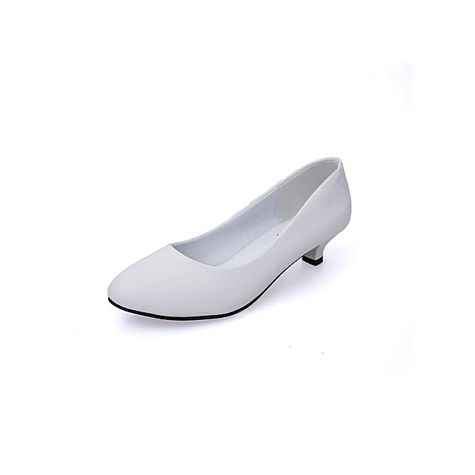 Fashion Round Toe Low Heel femmes Pumps Older Spike Heels Formal chaussures (blanc) à prix pas cher    Jumia Maroc