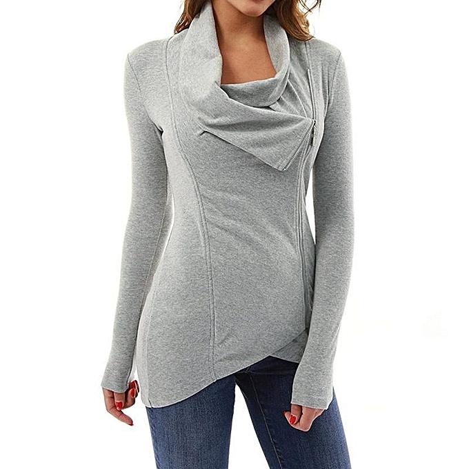 Zanzea ZANZEA Solid hauts Zipper Long T-Shirt Asymmetric Collar femmes manche longue chemisier gris à prix pas cher