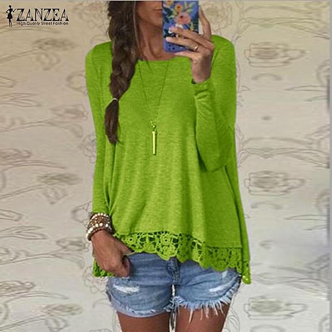 mode ZANZEA OverTailled Fall femmes Muslim chemisiers  mode manche longue O-Neck Décontracté hauts Lace Crochet Cotton Shirts(vert) à prix pas cher