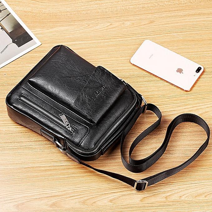 Other mode Décontracté Solid Trendy Hommes bandoulière sac petit Hand sac PU cuir Male sac Briefcase One Taille For Adults(noir) à prix pas cher