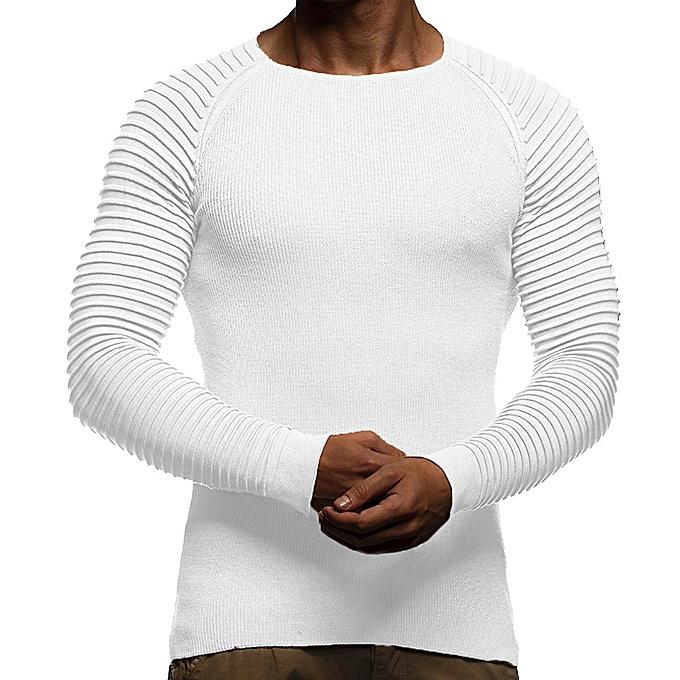 Fashion Men's Autumn Winter Striped Drape Knit  Long Sleeve T-shirt Top Blouse  WH XL à prix pas cher