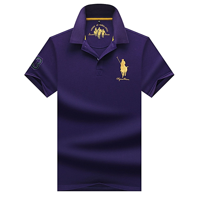 Fashion Men's Short Sleeve Cotton Lapel Solid Couleur Polo Shirt-violet à prix pas cher