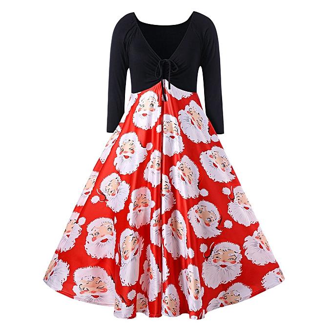 Generic Xiuxingzi Fashion femmes V-Neck Ribbons Merry Christmas Santa Claus Print Party Midi Dress à prix pas cher