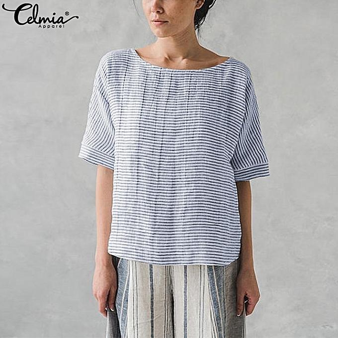 UNIVERSAL Celmia Cotton Boat Neck Casual Loose Baggy T Shirt Striped Blouse Tops Tees à prix pas cher