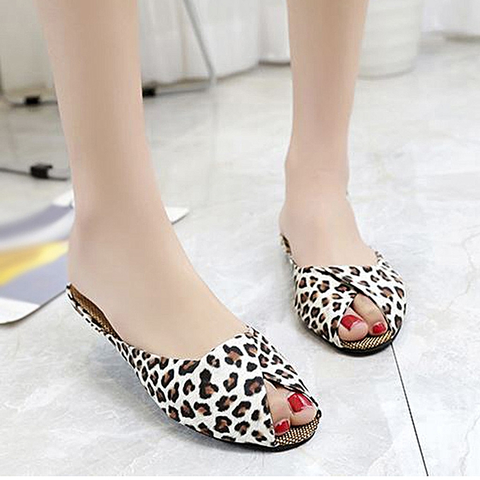 Fashion TEC WohommesCasual Fish MouthLow Heels Leopard Square Heel chaussures Sandals à prix pas cher