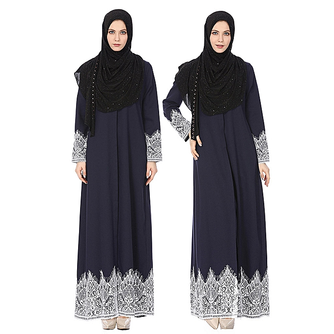 Fashion Hiamok Muslim Wohommes Fashion Full Buckle National Style Lace Robes Long Dress à prix pas cher