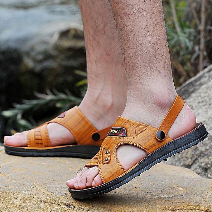 mode jiuhap store  mode Pour des hommes de plein air Flats Athletic  Décontracté plage chaussures Hiking Sandals Slippers à prix pas cher