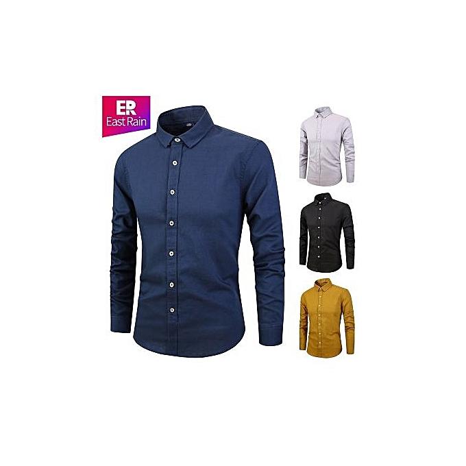 Fashion Men's 2018 New New Men's Cotton Shirt Fashion Long Sleeve Slim Solid Couleur Linen Shirt-NAVY bleu à prix pas cher