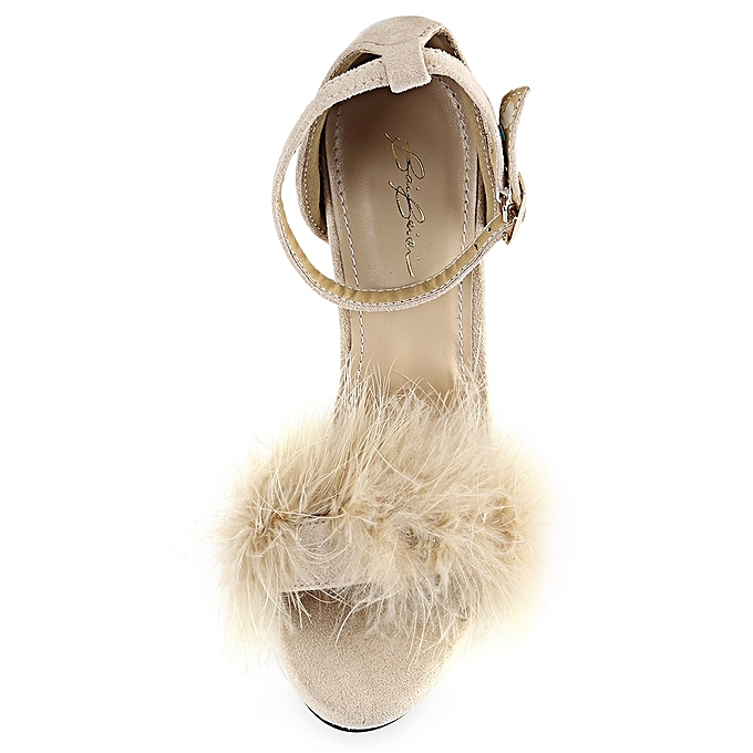 Fashion Feather Open Toe     Thin High Heel Sandals-APRICOT à prix pas cher  | Jumia Maroc dc9189
