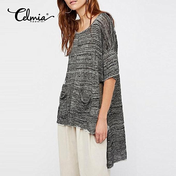 Fashion Celmia Solid T Shirt S-5XL femmes 2017 Long Knit Tshirt Summer Loose Light Thin T-Shirt Tees Tops De femmes Clothes Plus Taille (gris) à prix pas cher