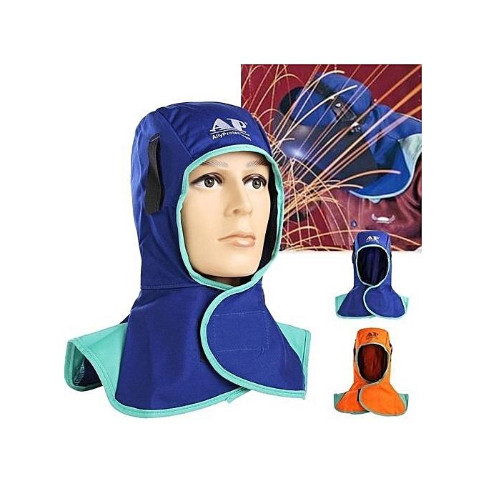 UNIVERSAL Flame Retardant Safety Helmet Welding Neck Prougeective Hood Welder Head Cap Cover bleu à prix pas cher