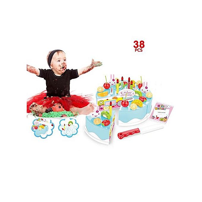 Generic 38 Piece Pretend Role Play Kitchen Toy Happy Birthday Cake Food Cutting Set Kids à prix pas cher