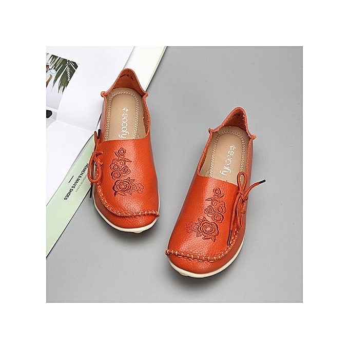 Fashion SOCOFY Fashion Large Taille Floral Print Soft Flat Leather Loafers femmes Boat chaussures à prix pas cher    Jumia Maroc
