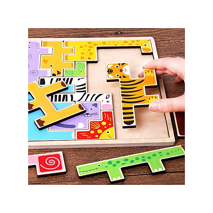 Generic Wooden  Jigsaw Giraffe Animals Block Toys Tetris Game Kids Educational Toys à prix pas cher