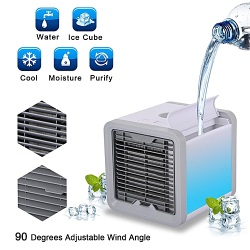 Mini Air Cooler Cooling USB Fan Conditioner With Colorful LED Portable Desk Room Navy blue