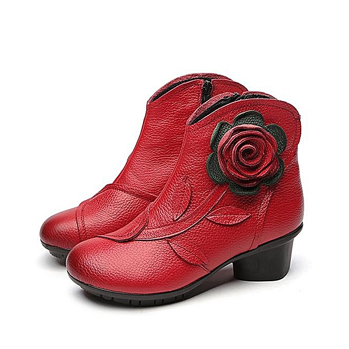 Fashion SOCOFY Retro Printing Pattern Block Flower Ankle Leather Fashion Fashion Leather WoHommes  Boots à prix pas cher  | Jumia Maroc 7307c3
